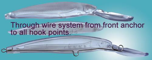through wire system crankbaits. Open level deep diving swimmer crank bait.