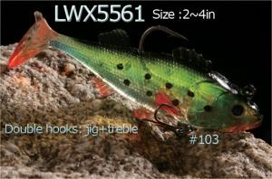 Soft gel or soft plastic siwmbaits : perch swimbait from 2-4in