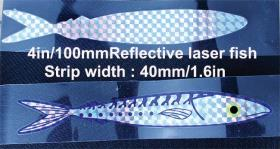 Opsrey stripteaser in length of 1m and 1.5mtr. Stripteaser laser fish sandwiched between 2 strips of heat sealed laminted PVC.